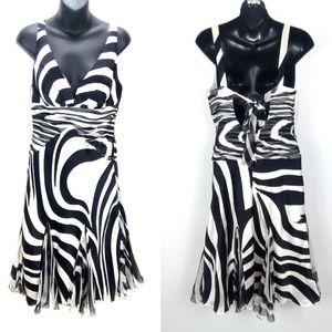 Alberto Makali 100% Silk Fit & Flare V-Neck Dress